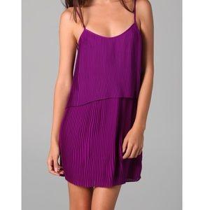 Parker purple accordion pleated mini dress XS